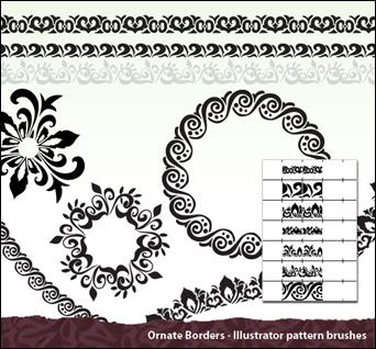 illustrator süslü fırça seti