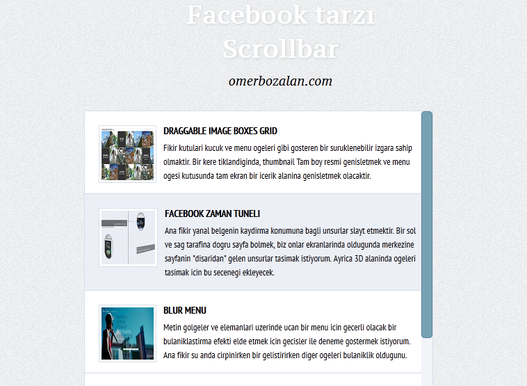 Facebook Tarzı Scrollbar Yapımı