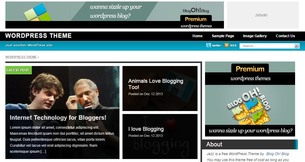 """Ücretsiz WordPress """"Jazz"""" Teması"""
